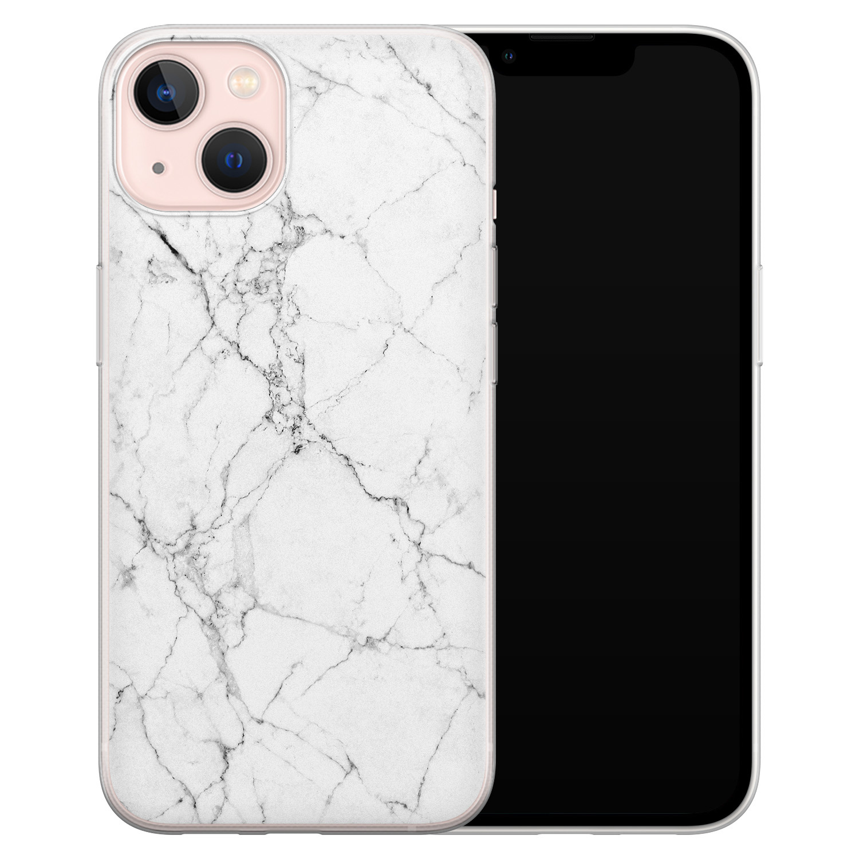 Leuke Telefoonhoesjes iPhone 13 siliconen hoesje - Marmer grijs