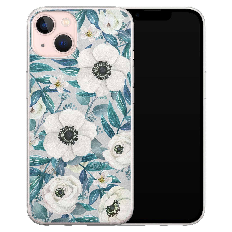 Leuke Telefoonhoesjes iPhone 13 siliconen hoesje - Witte bloemen