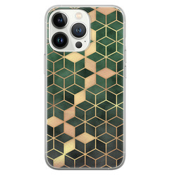 Leuke Telefoonhoesjes iPhone 13 Pro siliconen hoesje - Green cubes