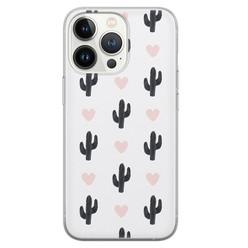 Leuke Telefoonhoesjes iPhone 13 Pro siliconen hoesje - Cactus love