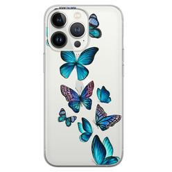 Leuke Telefoonhoesjes iPhone 13 Pro siliconen hoesje - Vlinders blauw