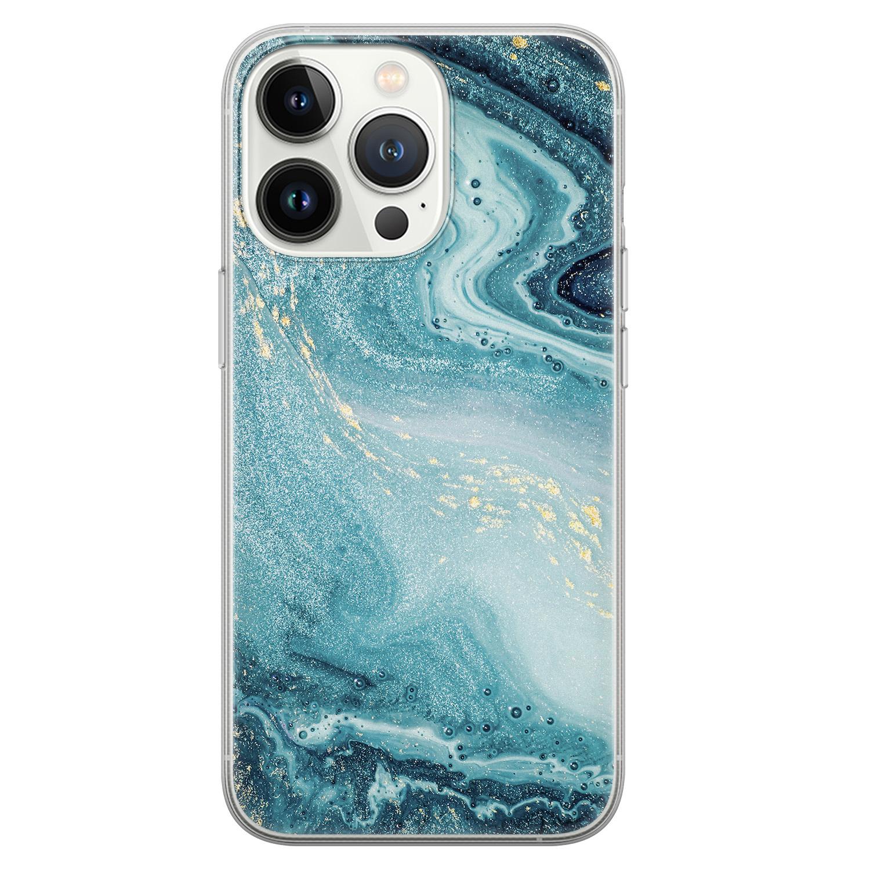 Leuke Telefoonhoesjes iPhone 13 Pro siliconen hoesje - Marmer blauw