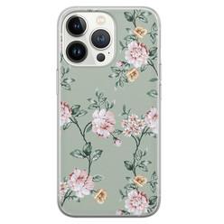 Leuke Telefoonhoesjes iPhone 13 Pro siliconen hoesje - Bloemetjes