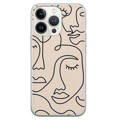 Leuke Telefoonhoesjes iPhone 13 Pro siliconen hoesje - Abstract gezicht lijnen
