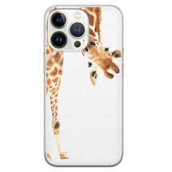 Leuke Telefoonhoesjes iPhone 13 Pro siliconen hoesje - Giraffe peekaboo