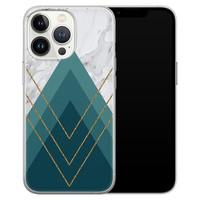 Leuke Telefoonhoesjes iPhone 13 Pro siliconen hoesje - Geometrisch blauw
