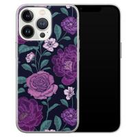 Leuke Telefoonhoesjes iPhone 13 Pro siliconen hoesje - Bloemen paars