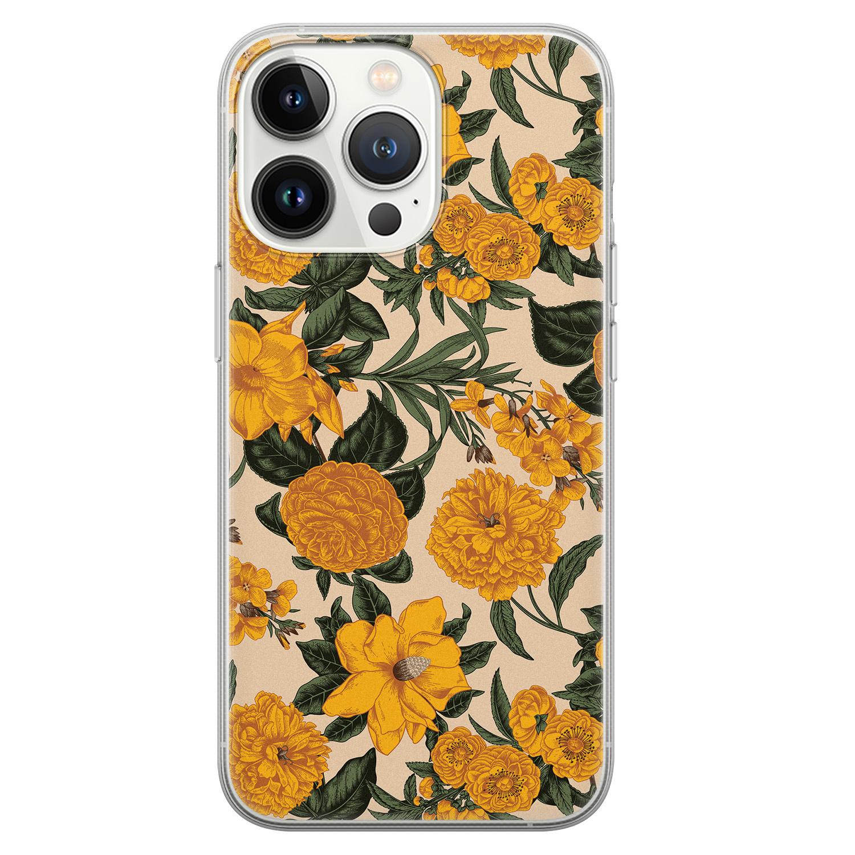 Leuke Telefoonhoesjes iPhone 13 Pro siliconen hoesje - Retro flowers