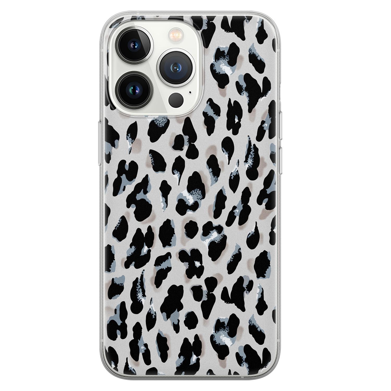 Leuke Telefoonhoesjes iPhone 13 Pro siliconen hoesje - Luipaard grijs