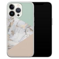 Leuke Telefoonhoesjes iPhone 13 Pro siliconen hoesje - Marmer pastel mix