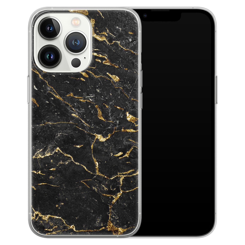Leuke Telefoonhoesjes iPhone 13 Pro siliconen hoesje - Marmer zwart goud