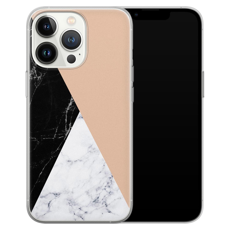 Leuke Telefoonhoesjes iPhone 13 Pro siliconen hoesje - Marmer zwart bruin