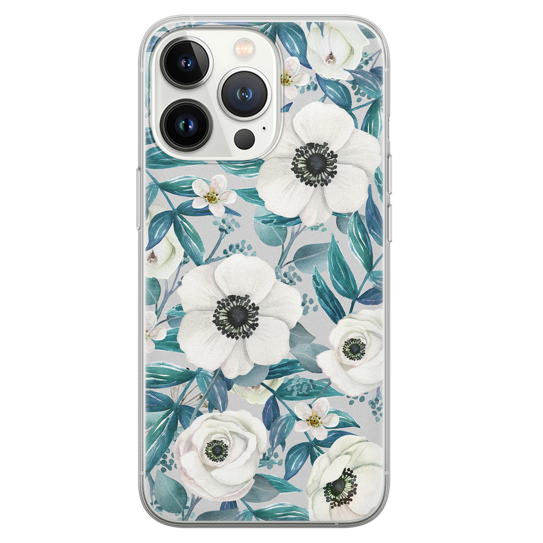 Leuke Telefoonhoesjes iPhone 13 Pro siliconen hoesje - Witte bloemen