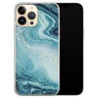 Leuke Telefoonhoesjes iPhone 13 Pro Max siliconen hoesje - Marmer blauw