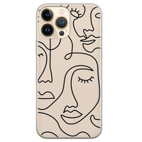 Leuke Telefoonhoesjes iPhone 13 Pro Max siliconen hoesje - Abstract gezicht lijnen