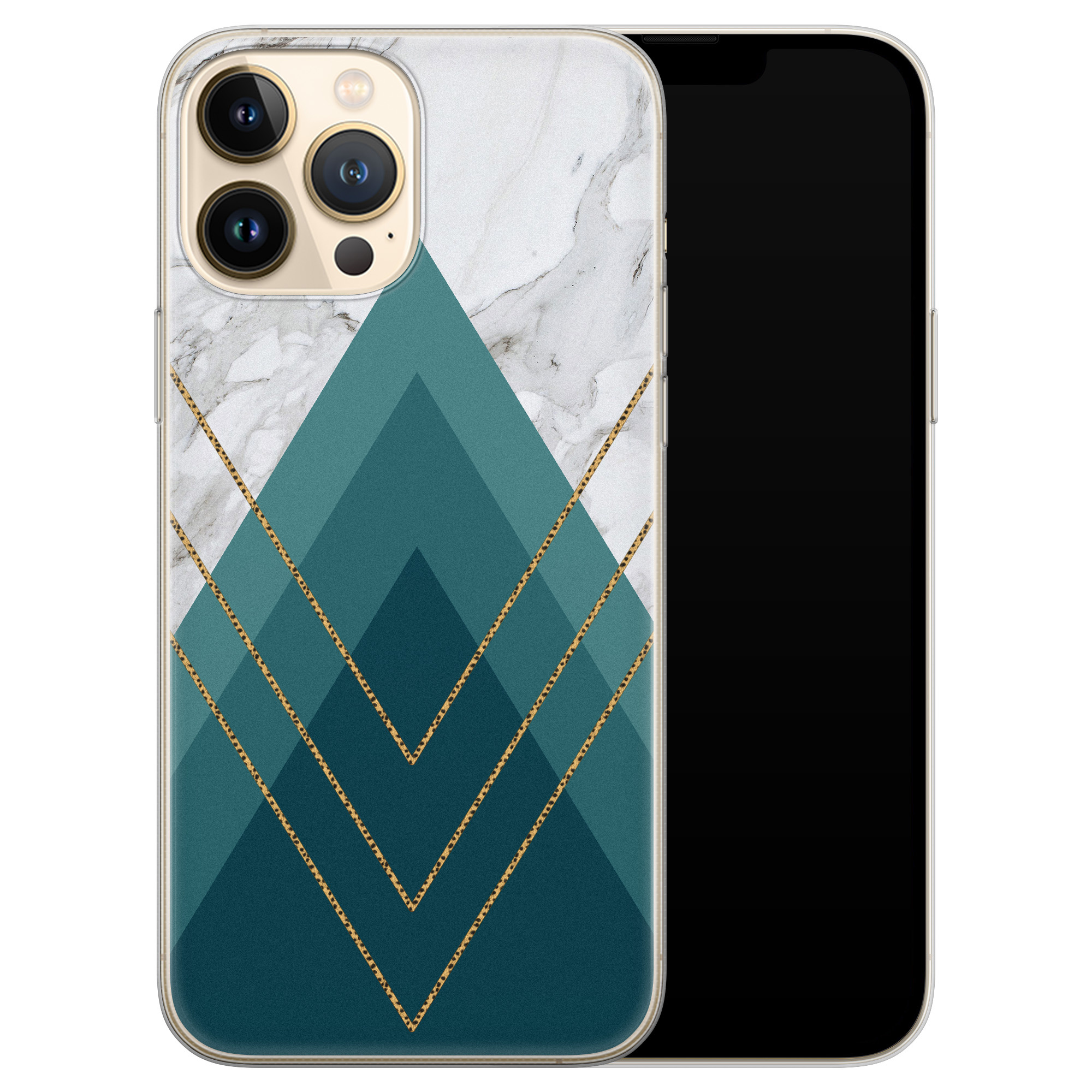 Leuke Telefoonhoesjes iPhone 13 Pro Max siliconen hoesje - Geometrisch blauw