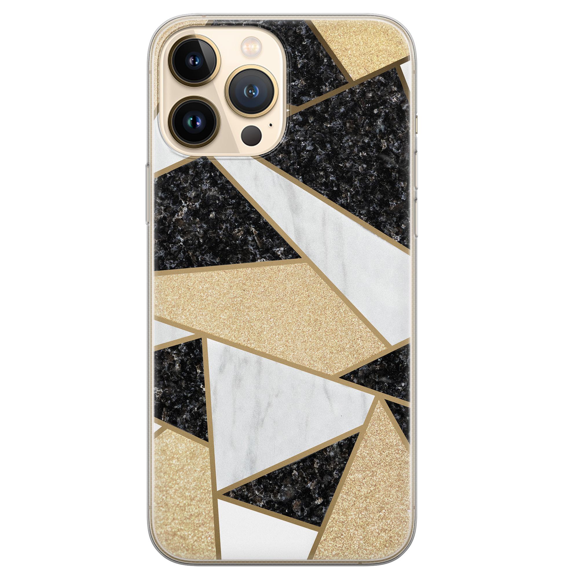 Leuke Telefoonhoesjes iPhone 13 Pro Max siliconen hoesje - Goud abstract