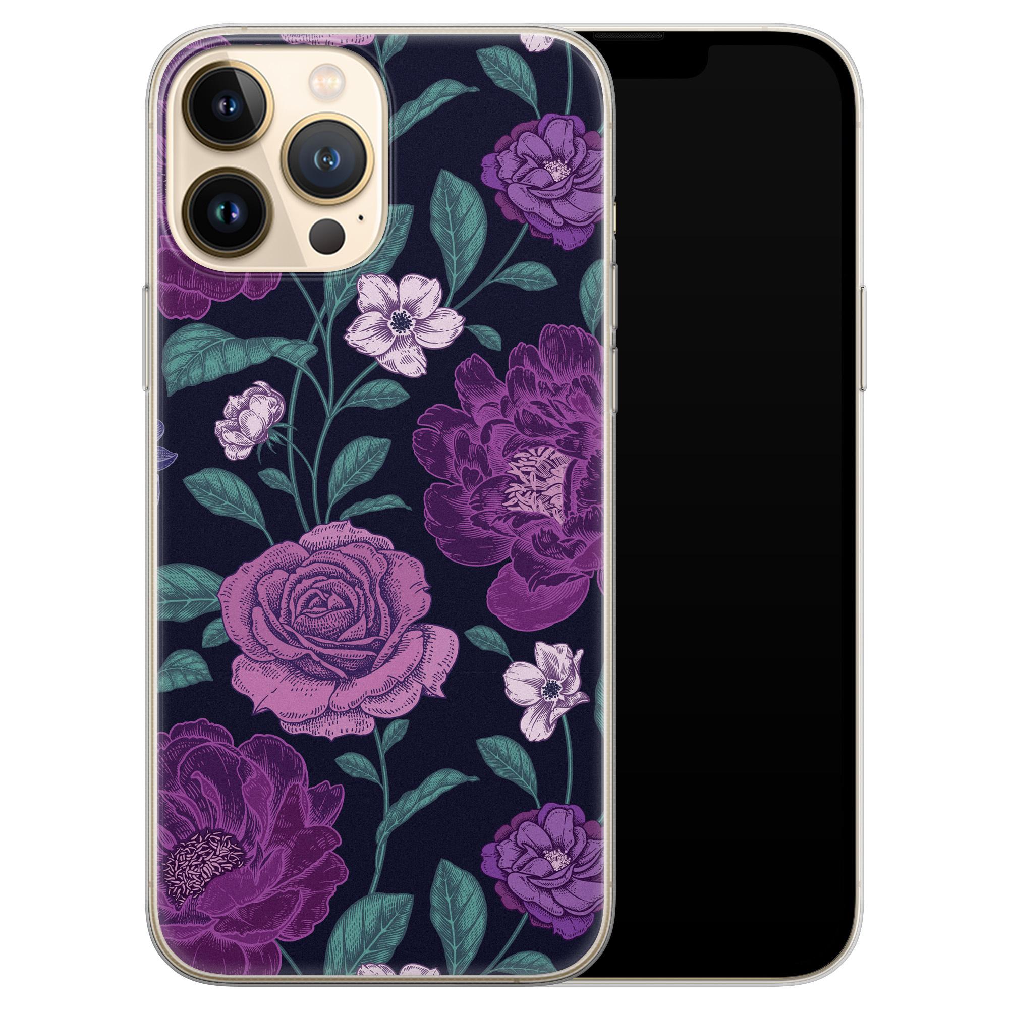 Leuke Telefoonhoesjes iPhone 13 Pro Max siliconen hoesje - Bloemen paars