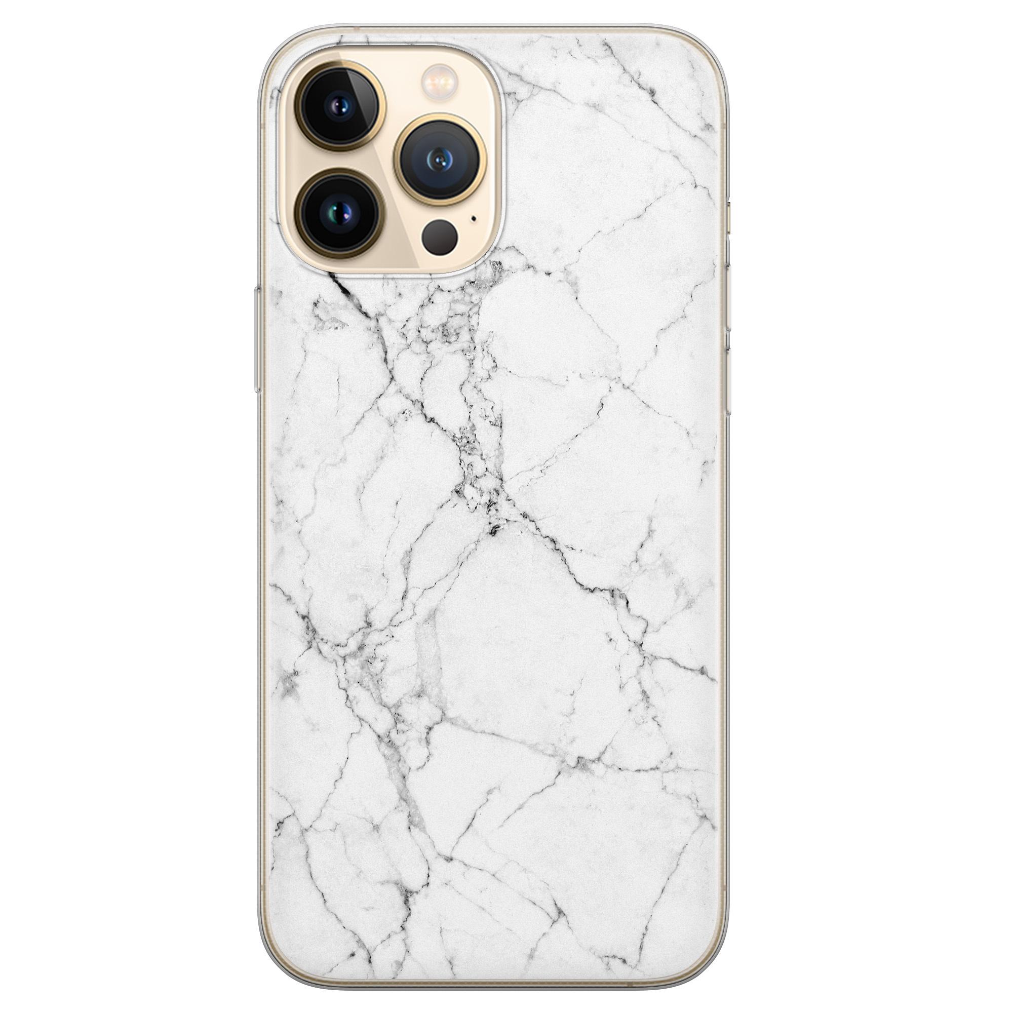 Leuke Telefoonhoesjes iPhone 13 Pro Max siliconen hoesje - Marmer grijs