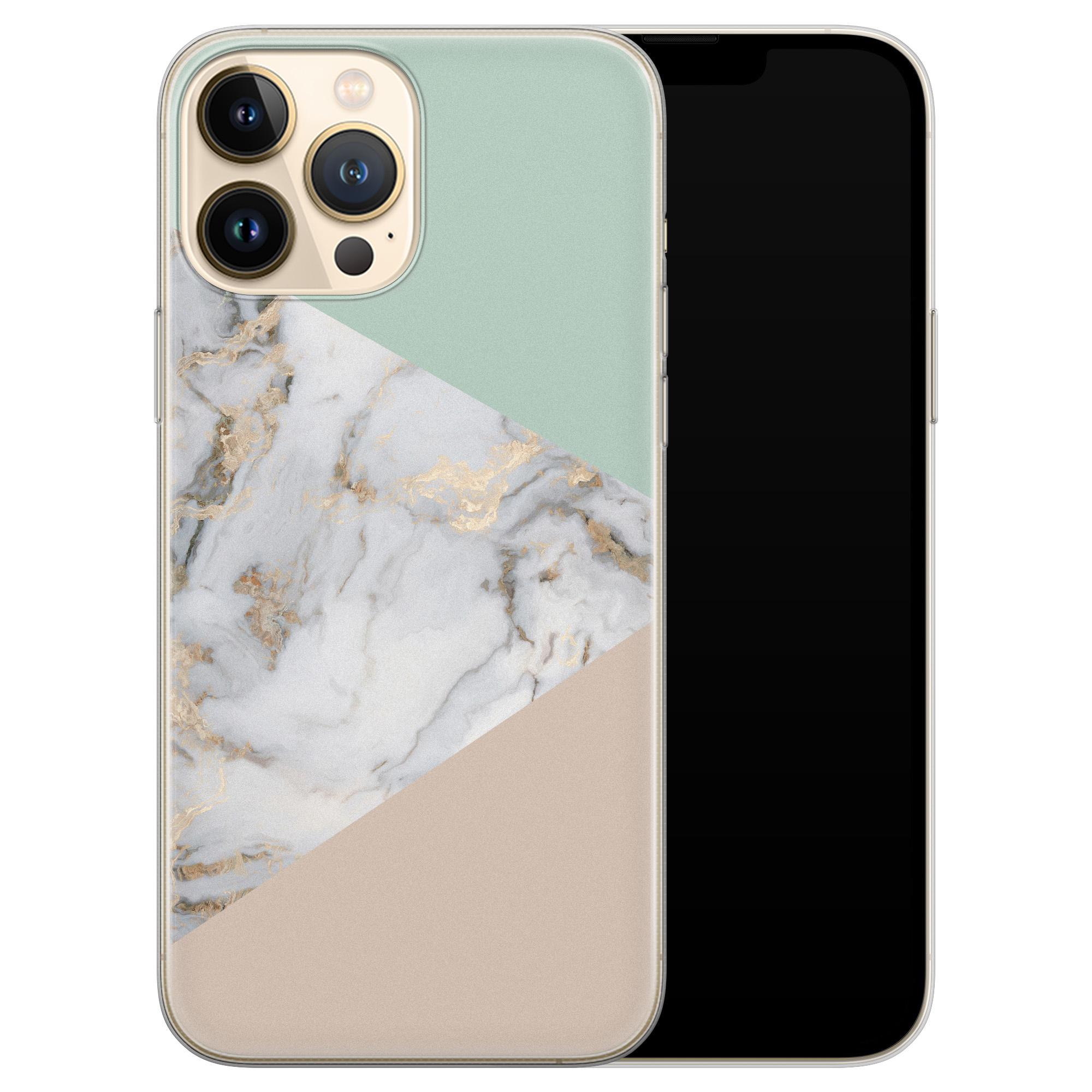 Leuke Telefoonhoesjes iPhone 13 Pro Max siliconen hoesje - Marmer pastel mix
