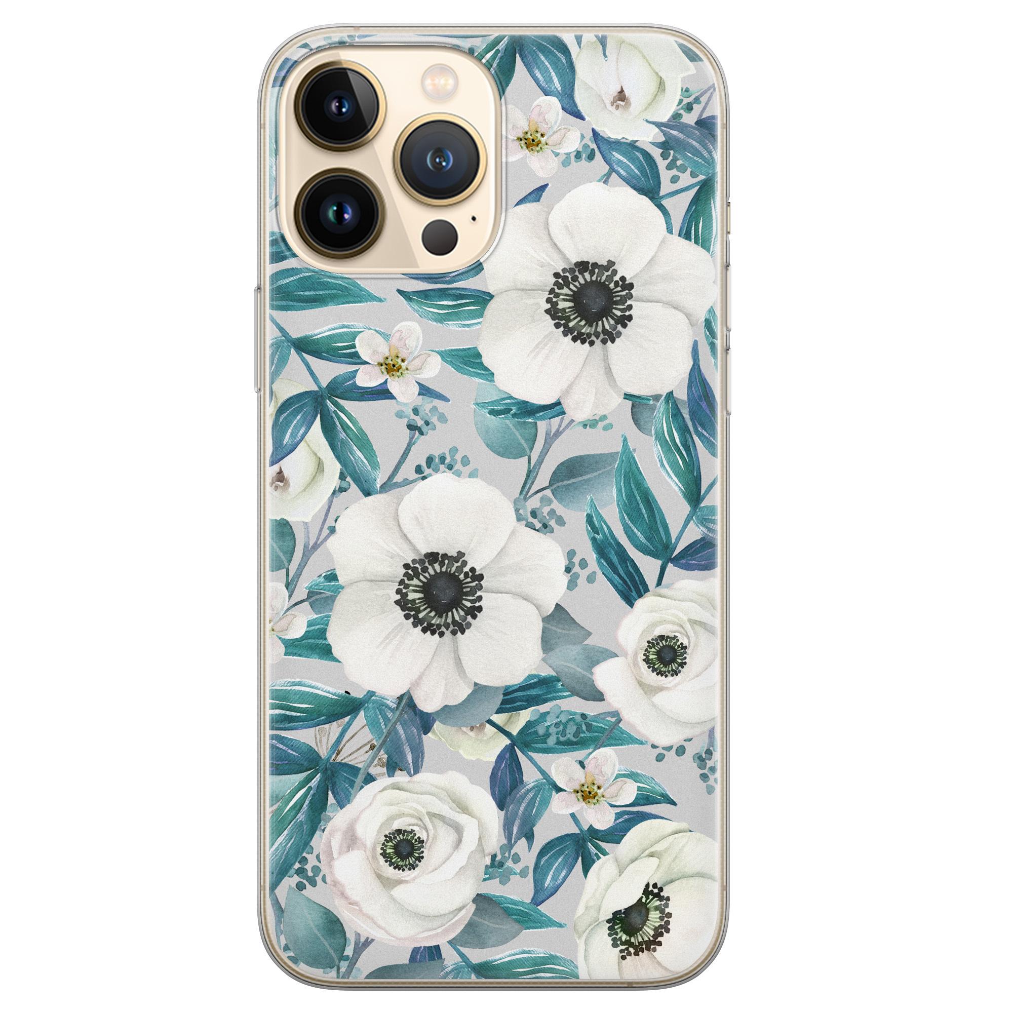 Leuke Telefoonhoesjes iPhone 13 Pro Max siliconen hoesje - Witte bloemen