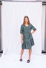 Happy 13 Dress Saskia - Green with flowerprint