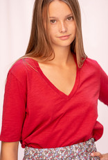 Happy 13 T-Shirt Short Sleeve V-Neck Red