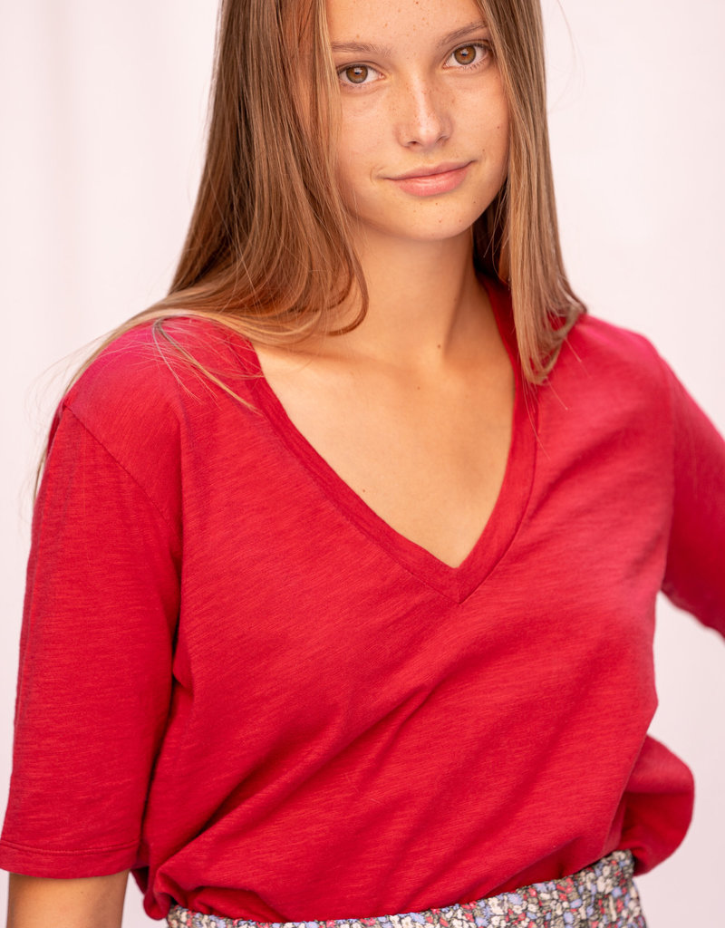 T-Shirt SS V-Neck - Red