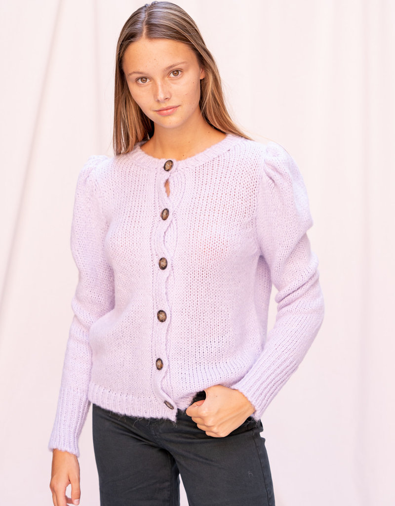 Gilet with puff sleeves Lilac