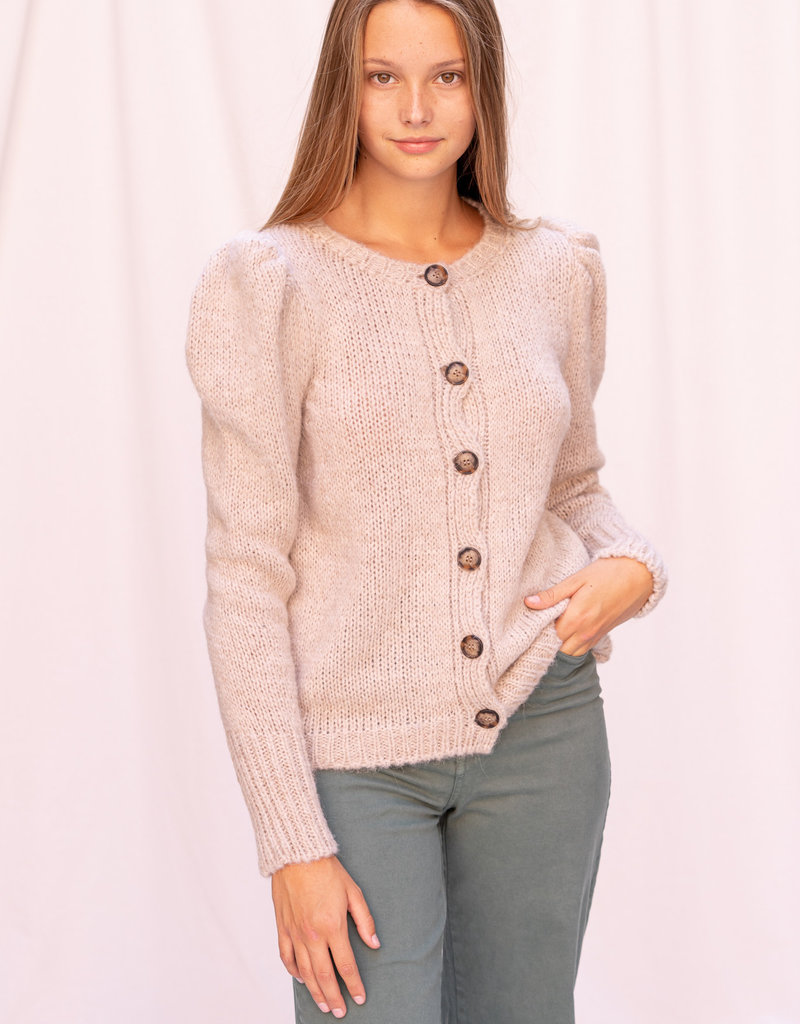 Gilet with puff sleeves Sand