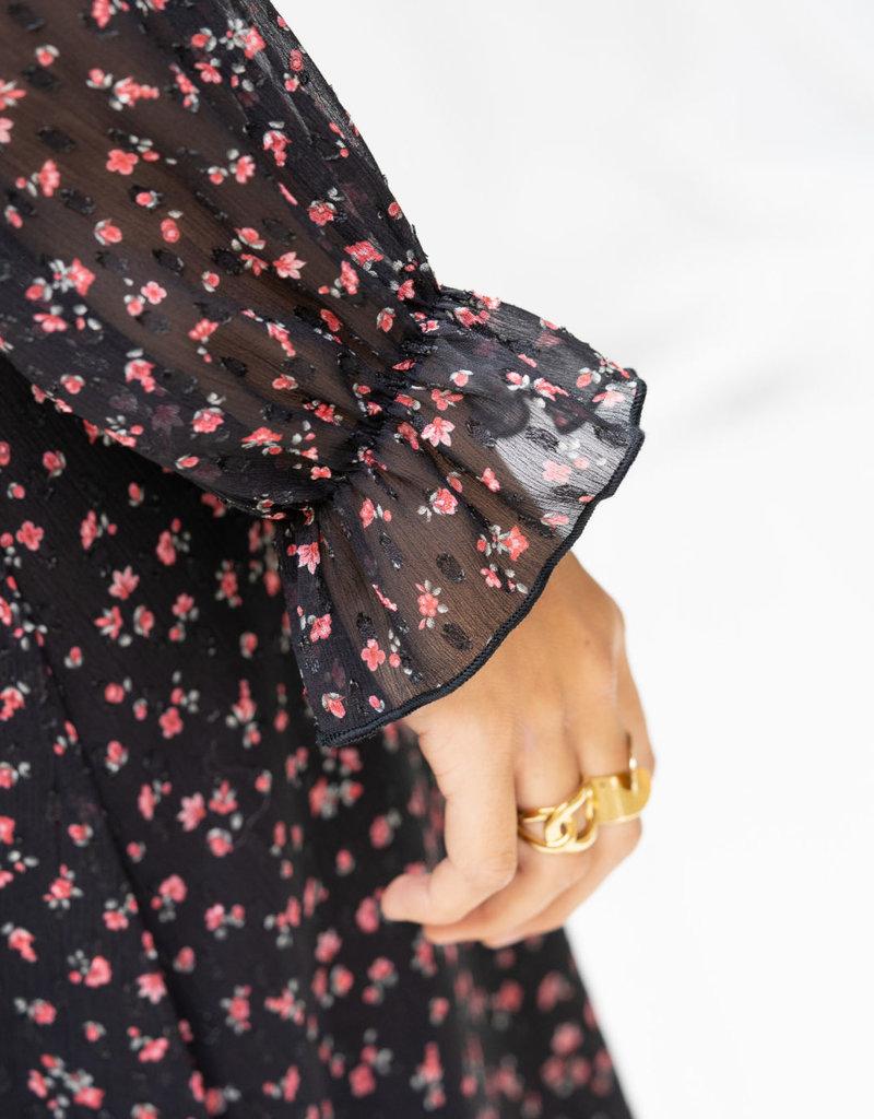 Happy 13 Dress Poppy - Black with pink flower print
