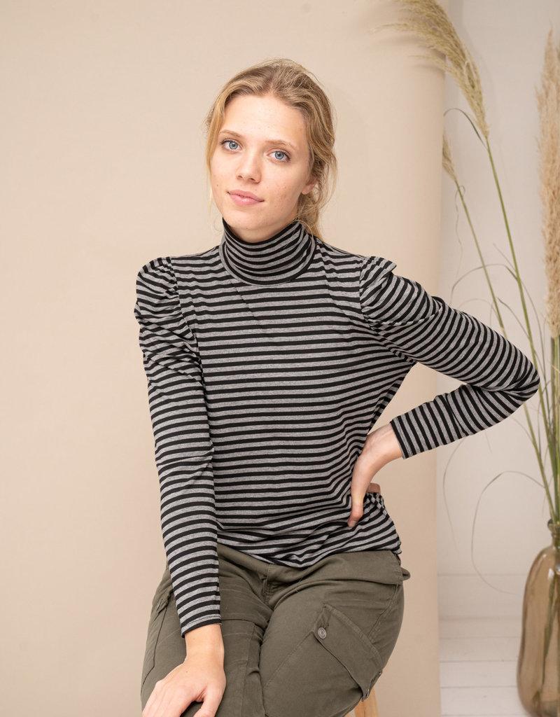 Happy 13 Sous Pull Suzy Striped- Black/Grey