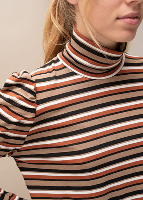 Happy 13 Sous Pull Suzy Striped- Black/Camel/Rust