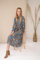 Happy 13 Dress Poppy - Grey Blue with flower print