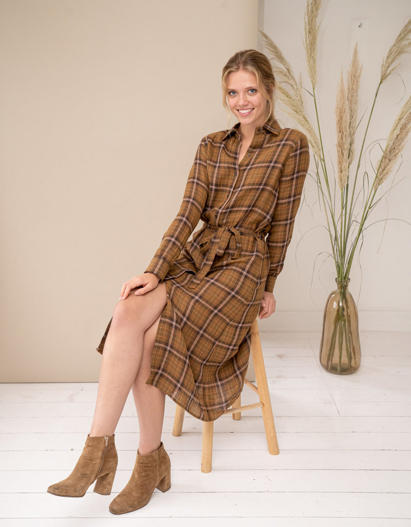 Happy 13 Dress Marie-Lou - Camel Checkered