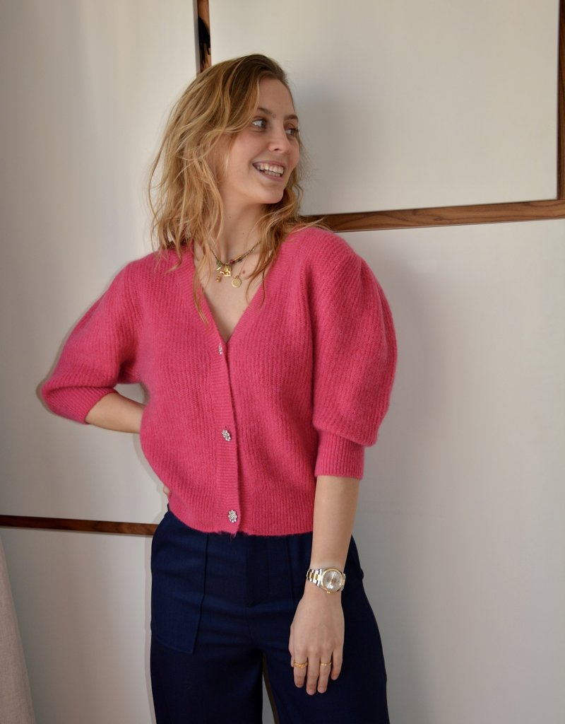 Gilet Nick Short Sleeves Kristal Buttons-Fuxia