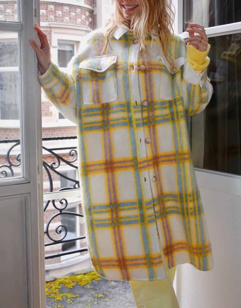 Coat Happy Checkers - Yellow/Lavender