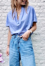 Blouse Ashley - Jeans Blue with Small Print