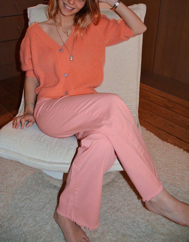 Gilet Nick Short Sleeves Kristal Buttons-Burnt Koral