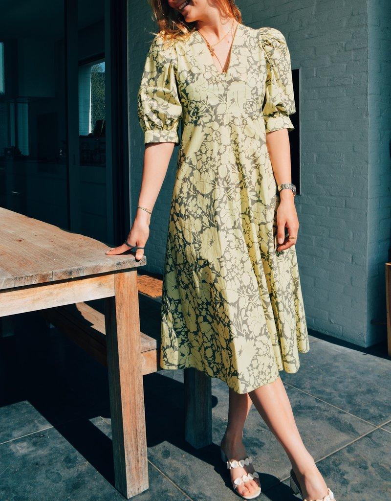 Dress Greta - Yellow/Taupe Print