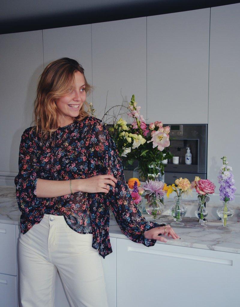 Kary Blouse - Multicolour flowers on Black