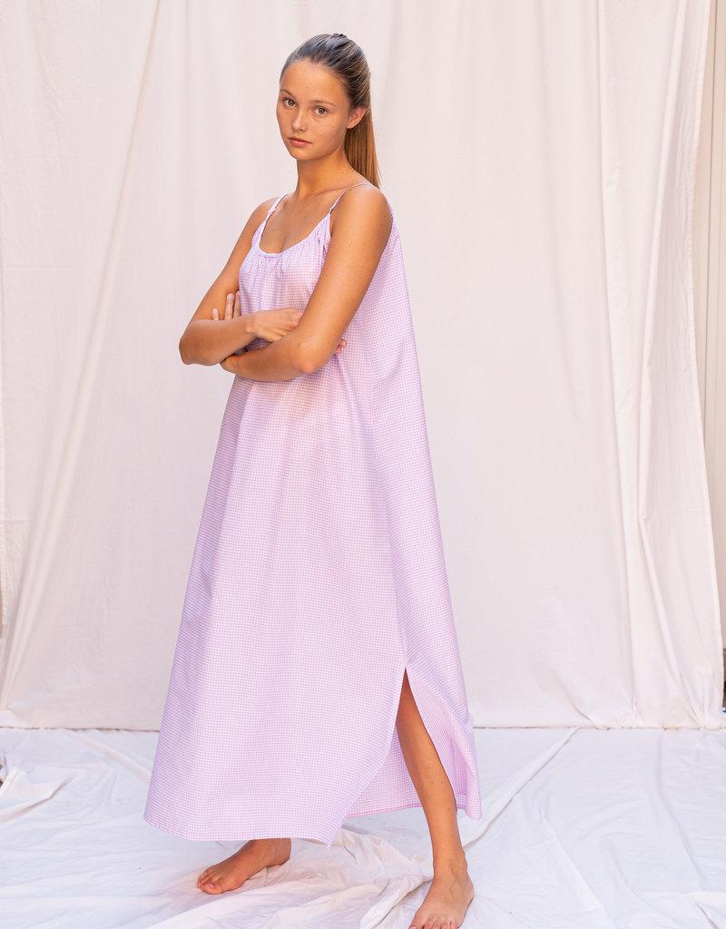 Dress Alida - White/Lilac Vichy
