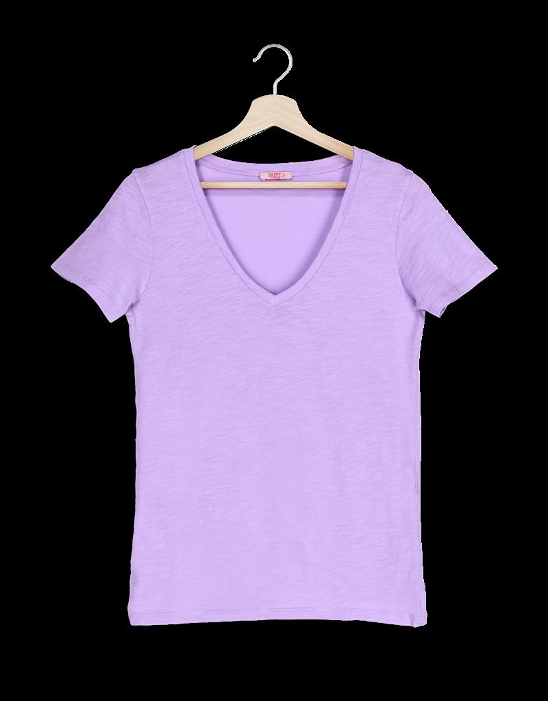 T-Shirt SS V-Neck - Lila