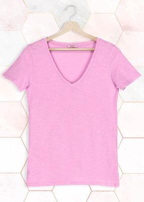 T-Shirt SS V-Neck - Pink