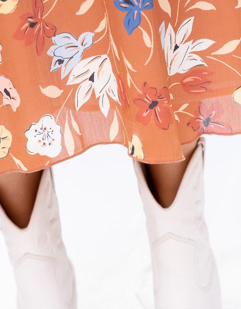 Dress Alida - Tan flowerprint