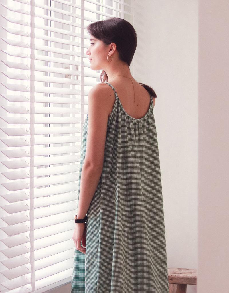 Dress Alida - White/Green Vichy