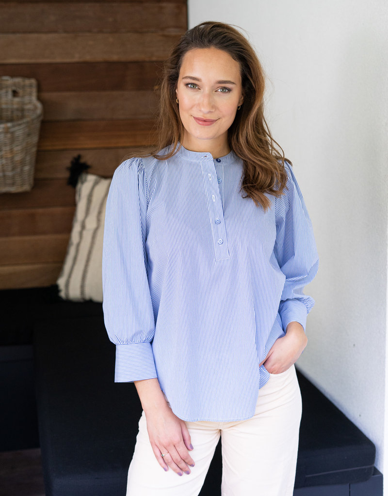 Blouse Lauranne Wit-Blauw streepje