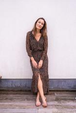 Dress Sabine - Black/Camel Print