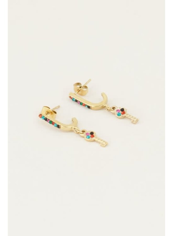 Earring - Oorhangers sleutel & Multikleur strass steentjes / Goud