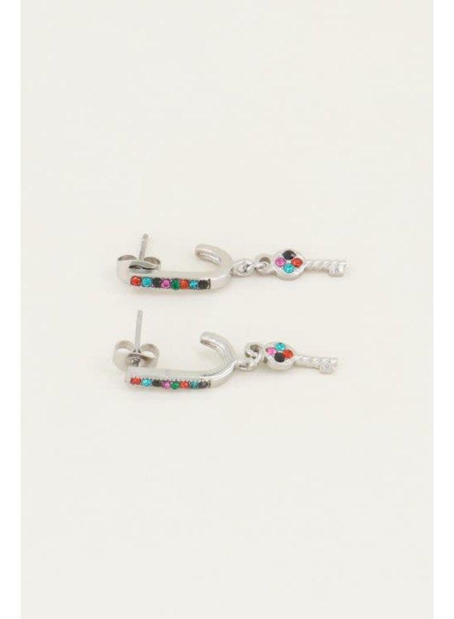 Earring - Oorhangers sleutel & Multikleur strass steentjes / Zilver